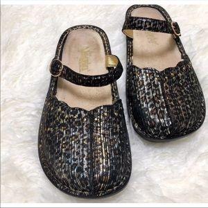 Alegria Animal print Mary Jane Mule Shoes